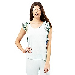 B by Ted Baker - Light green rose print back pyjama top