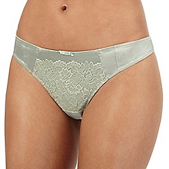 Reger by Janet Reger - Light green silk floral lace thong