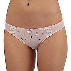 Floozie by Frost French - Pink lace embroidered Brazilian briefs