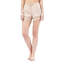 Nine by Savannah Miller - Pale pink vintage style luxury hammered satin shorts