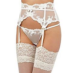 Reger by Janet Reger - Ivory mesh floral lace trim suspender