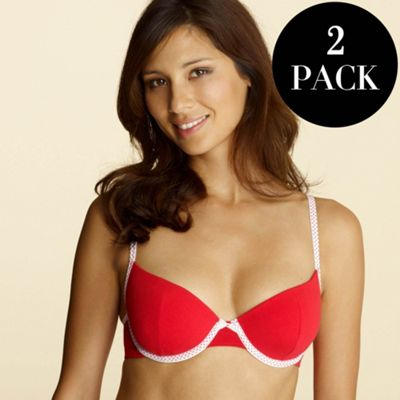 Pack of two red spot print t-shirt bras