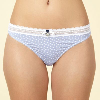 Light blue star embellished thong