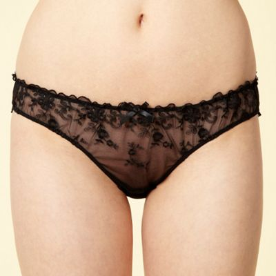 Black floral embroidered hipster briefs