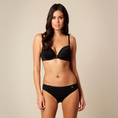 Black pleat plunge bra