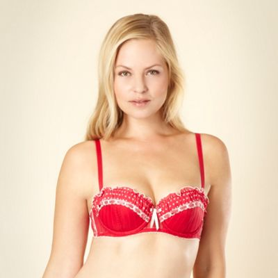 Bright red spotted ribbon balcony bra