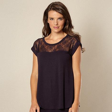 B by Ted Baker - Dark purple lace short sleeved pyjama top