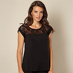 B by Ted Baker - Black lace short sleeved pyjama top