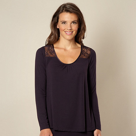B by Ted Baker - Dark purple lace long sleeved pyjama top