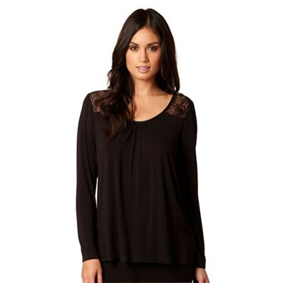 B by Ted Baker Black long sleeve jersey and lace pyjama top - . -