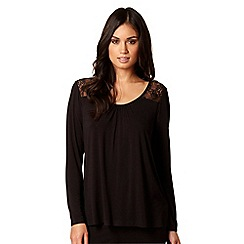 B by Ted Baker - Black long sleeve jersey and lace pyjama top