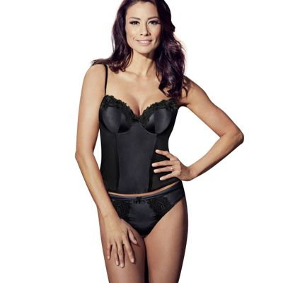 Black garland satin basque