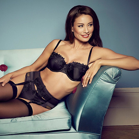 Adore Moi by Ultimo - Black +Garland+ satin suspender belt