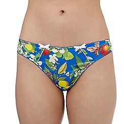 B by Ted Baker - Bright blue floral print thong