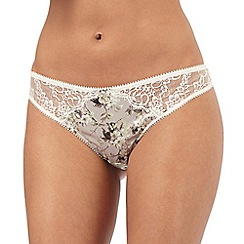 Reger by Janet Reger - Taupe floral print thong