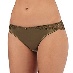 Reger by Janet Reger - Dark green lace Brazilian briefs