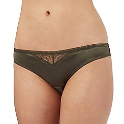Nine by Savannah Miller - Olive green bonded lace Brazilian briefs