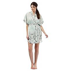 Nine by Savannah Miller - Pale green luxury satin kimono