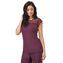 B by Ted Baker - Dark purple lace sleeved pyjama top