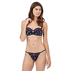 Floozie by Frost French - Navy floral print balcony bra