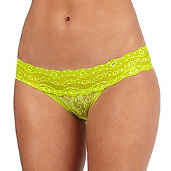 b.tempt'd - Lime floral lace bikini briefs