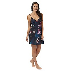 B by Ted Baker - Navy floral print 'Midnight Bloom' lace trim chemise