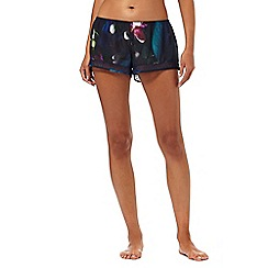 B by Ted Baker - Navy floral print 'Midnight Bloom' lace trim pyjama shorts