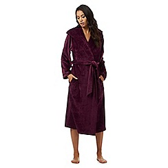 B by Ted Baker - Purple moleskin hooded long dressing gown