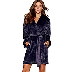B by Ted Baker - Navy debossed logo hooded dressing gown
