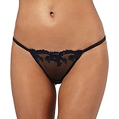 Reger by Janet Reger - Black floral embroidered diamante thong