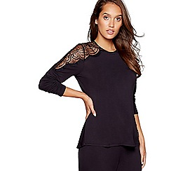 B by Ted Baker - Black lace yoke pyjama top