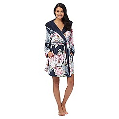 B by Ted Baker - Multi-coloured 'Pure Peony' floral print hooded dressing gown