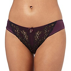 B by Ted Baker - Dark purple lace detail Brazilian briefs