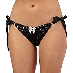 Floozie by Frost French - Black star and spot print tie side high leg briefs