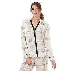 Nine by Savannah Miller - Ivory satin check print pyjama shirt