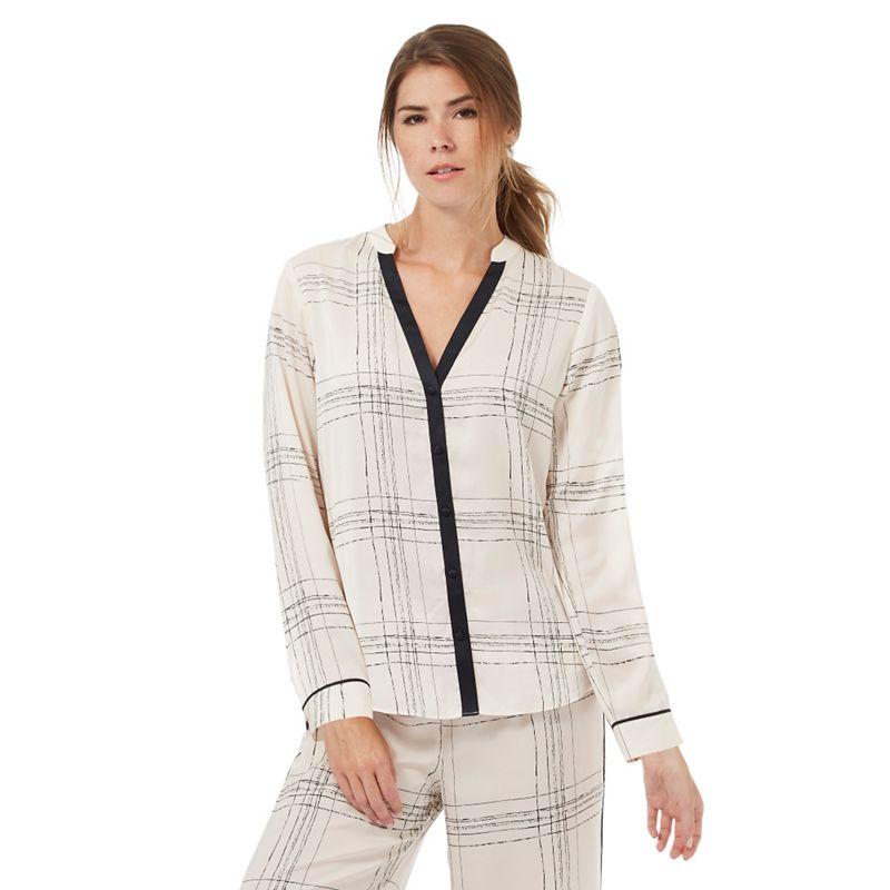 Nine by Savannah Miller Ivory satin check print pyjama shirt