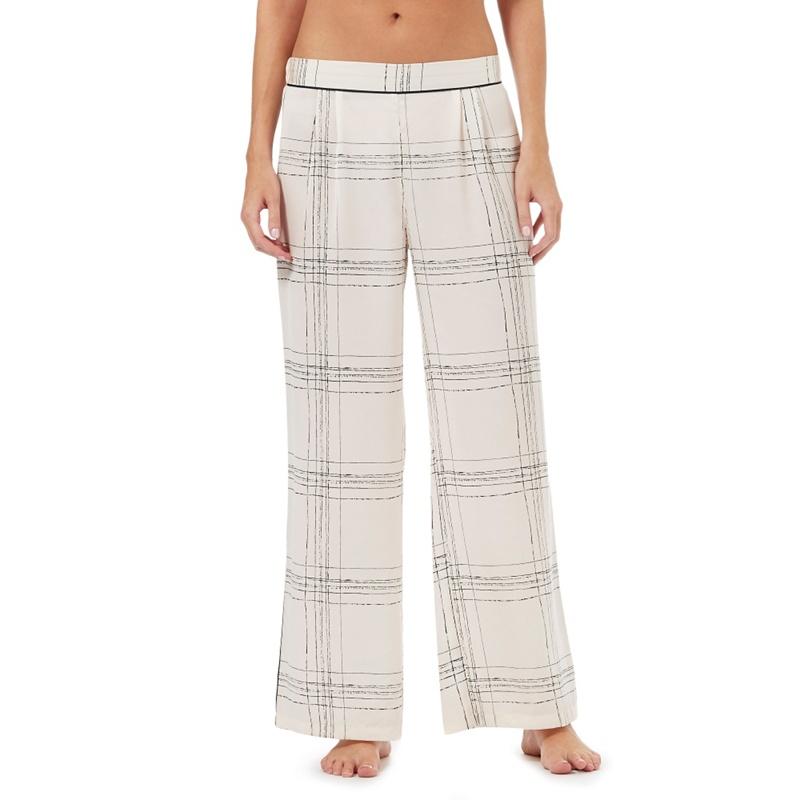 Nine by Savannah Miller Ivory Satin Check Print Pyjama