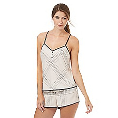 Nine by Savannah Miller - Ivory satin check print camisole