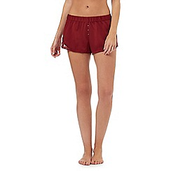 Nine by Savannah Miller - Red lace-trimmed pyjama shorts