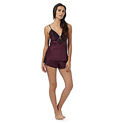 B by Ted Baker - Dark purple lace trim cami and shorts set