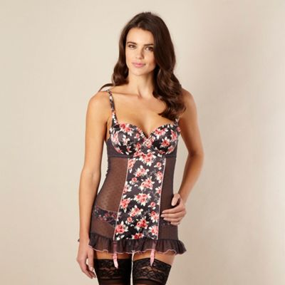 Dark grey rose printed babydoll