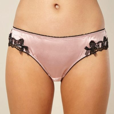 Designer pale pink scalloped lace brazilian briefs