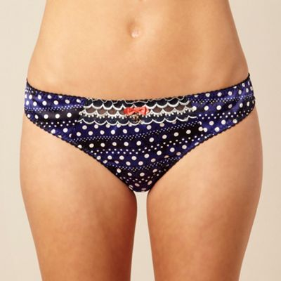 Navy spotted bikini briefs