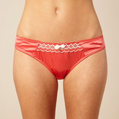 Peach scalloped mesh bikini briefs