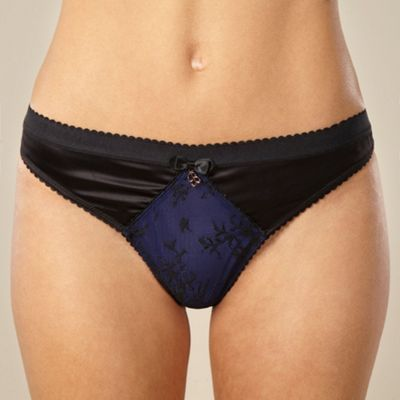 Navy lace and satin thong