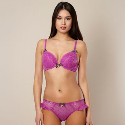Purple spotted lace plunge bra