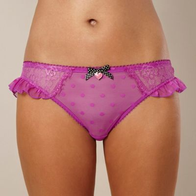 Purple spotted lace hipster briefs