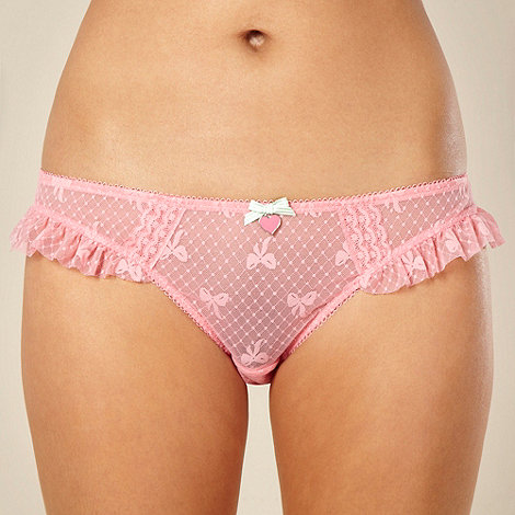 Floozie by Frost French - Designer pink bow frill edge hipster briefs