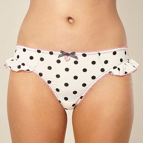 Floozie by Frost French - Cream spotted microfibre thong