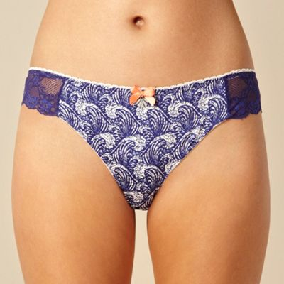Designer navy wave printed brazilian briefs